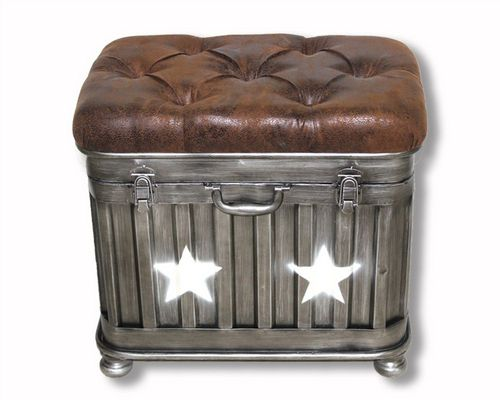 51cm Iron Industrial Star Ottoman Storage Stool With Faux Leather Lid